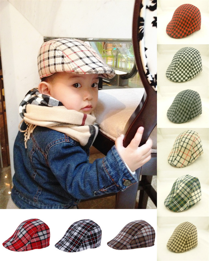 Free Shipping 2016 Spring and Autumn Kids Fashion Berets Plaid Hats For Baby Boy And Girl Hat And Cap 9 Colors Baby Berets Hats(China (Mainland))
