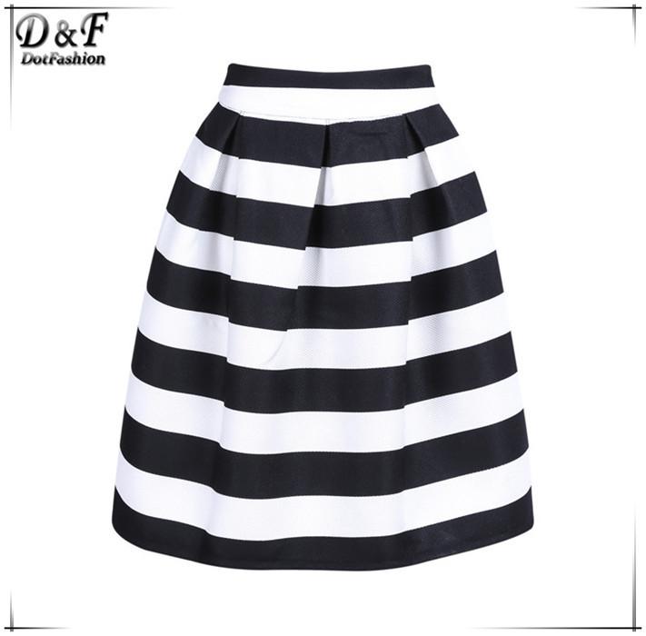 2015 Saias Femininas Fashion Spring Korean Style Women New Plain Black and White Striped Back Zipper A Line Knee Length Skirt(China (Mainland))