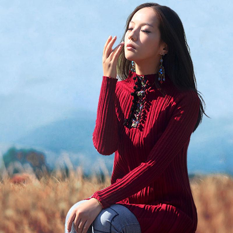 BOHOCHIC Original Vintage Ethnic Women Autumn Knitted Sweater Turtleneck Full Sleeve Ladies A Line Clothing AB0044Q Boho Chic(China (Mainland))