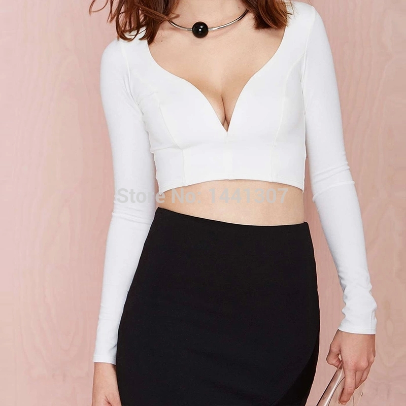 15sdnt231 new sexy dark v neck crop top 2015 casual tops for Best white t shirt women s v neck