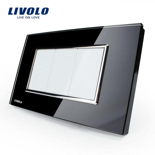 Free Shipping,Livolo US Standard Switch, All Blank Socket, VL-C300-82, Black Crystal Glass Panel