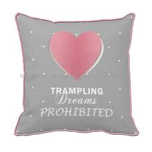 Trampling dream prohibited and pink heart shape printed grey cushion cover