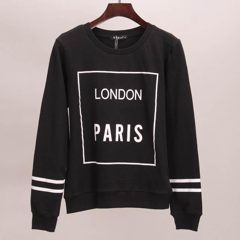 Sakura hoodies sweatshirt women LONDON PARIS printed hoodie tracksuits autumn winter long tees women woman tops sport 2015(China (Mainland))