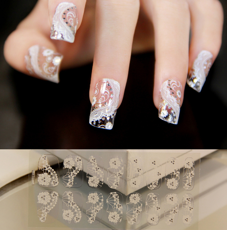 2015 New Fashion Nail Art Tips Glitters DIY Sticker Decal 3D White Lace Acrylic Nail Art Full Wraps Decoration 1 Sheet=16 Decals(China (Mainland))