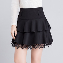 Buy plus size 2016 Spring Autumn High Waist Lace Skirts Women Pleated Mini Skirt Female Casual Elastic Short Cotton Skirt WT7017 for $30.69 in AliExpress store