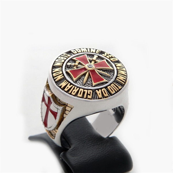 SMR0113 Masonic Knights Templar ring Red Enamel Cross Master mason ring jewelry(China (Mainland))