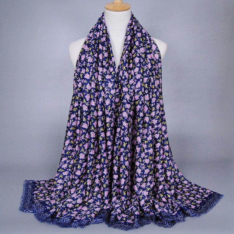 Hot selling design Girl printe floral shawls high quality cotton headband muffler hijab winter muslim scarves/scarf 10pcs/lot