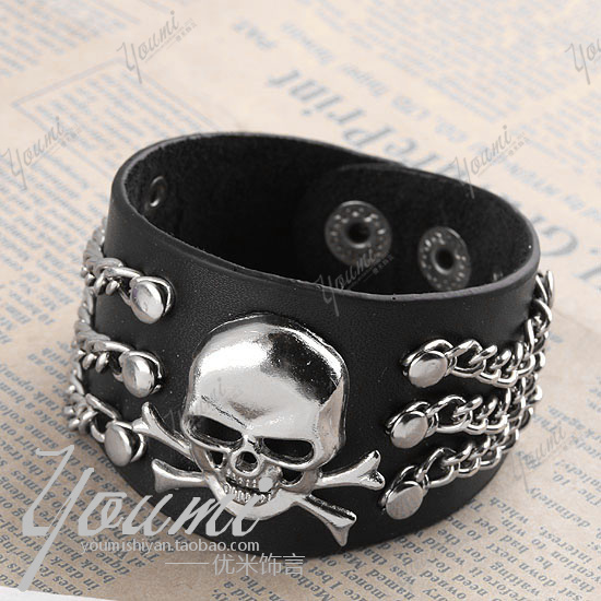 Jewelry male bracelet alloy skull punk cowhide accessories - enquan zhang's store