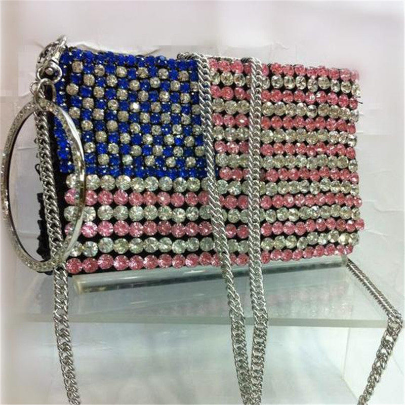 American National Flag Mini Minaudiere Women Wedding Party Clutches For Bride Crystal Clutch Evening Bags Chains Purses 1024t(China (Mainland))