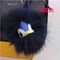 Black leather wallet Pom Pom real fur pompom softball keychains monster doll keychain charm golf cart