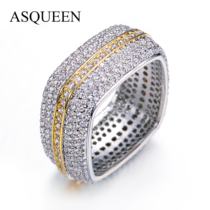 UMODE Brand Square Wedding Band Two Tone Gold Plated Eternity Rings For Women Luxury Jewelry Paved Full AAA CZ Diamond AUR0198<br><br>Aliexpress