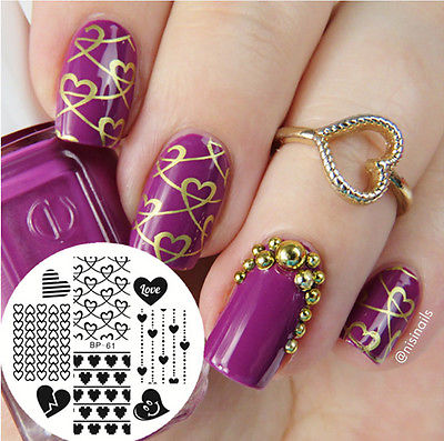 New Pattern Love Heart Nail Art Stamping Template Image Plate BORN PRETTY BP61<br><br>Aliexpress