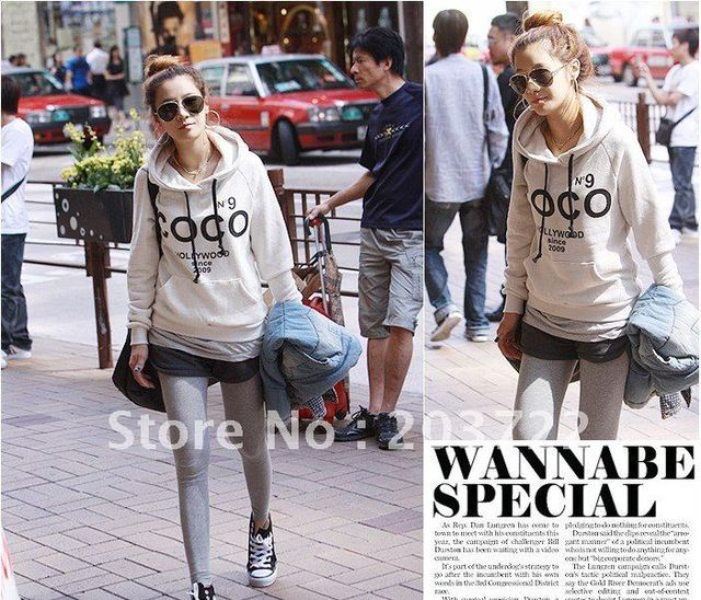 1pc retail free shopping Korea Women Casual Hoodie Sweatshirt Tracksuits Tops Outerwear
