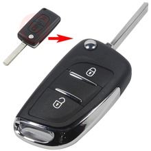VA2 Uncut Blade 2 Button Modified Flip Folding Key Shell Peugeot 306 407 807 Remote fob Case Chrome logo - AutoKey's Store store