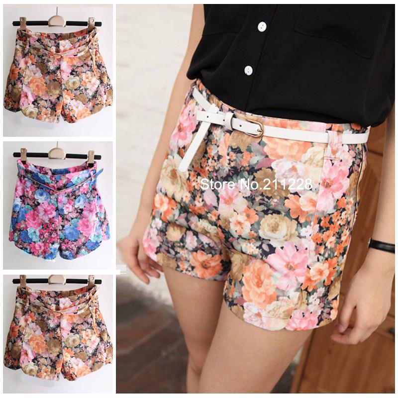 2016 summer fashion women 39 s floral short pants korean for Women s fishing shorts