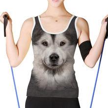 NoisyDesigs Yaz Baskı Hayvan Kurt Köpek Kadın Tankı Üstleri Komik Kadın Slim Fit Yelek En Kolsuz Casual Kadın T Shirt XXL(China)