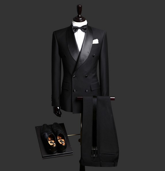 (Jacket+Pants+Bow) Black Groom Wedding Suits Mens Double Breasted Suits With Pants Tuxedo RXF01 Customize Smoking Casamento 2017