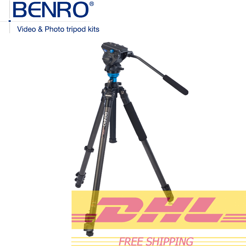 BENRO C2573FS4 Carbon Fiber Tripod Video Tripod Kits With S4 Ballhead Integral Level 3 Section+Carrying Bag Kit, Max loading 4kg(China (Mainland))
