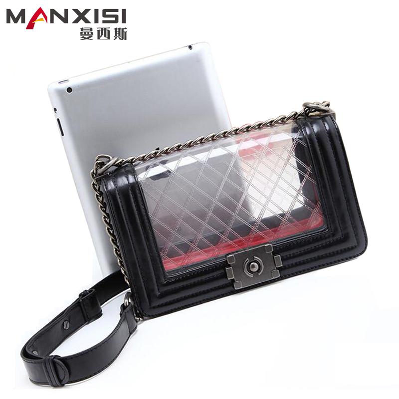 Fashion Diamond Lattice Lady Handbag Clear Transparent Women Messenger Bag High Quality Leather Genuine Chain Shoulder bag(China (Mainland))