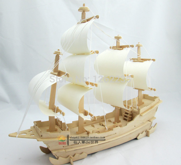 Puzzle wooden model ships 3d PUZZLE DIY hand-assembled model of creative intelligence ancient toy sailboat(China (Mainland))