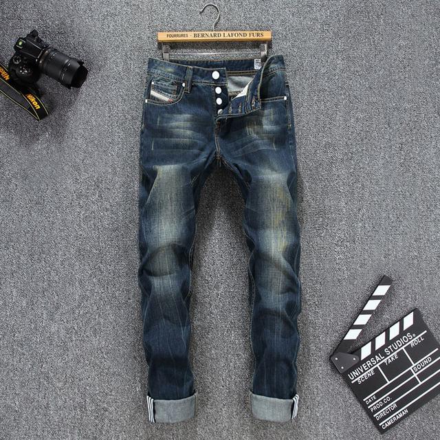 Мужская Мода Джинсы хлопок мужские джинсы высокого качества прямые джинсы мужчины ...
