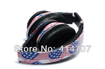 EMS Free Shipping! 1 piece High Rosolution Super Bass American Flag On-ear Headphone DJ Earphone New Fashion Design for PC