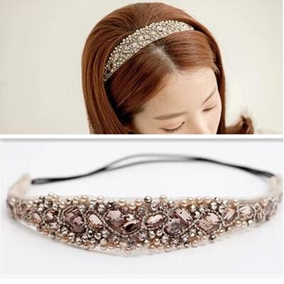 2015 New Korean Hair accessories Rhinestone Pearls Headbands Girls Headwear Bride hair band Fairy hair band(China (Mainland))