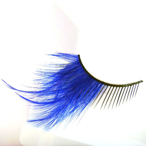 1 pair/pack Charming peacock blue long false artificial eyelashes.18.17786.Free shipping(China (Mainland))