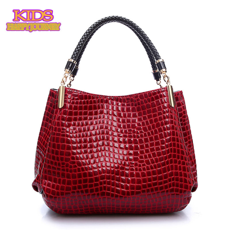 2016 Newest Women Leisure Tote PU Patent Leather Embossed Alligator Texture Shoulder Messenger Bags 1092(China (Mainland))
