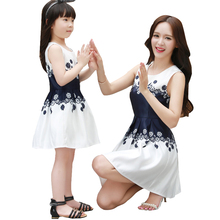 summer 2016 new mother daughter dresses mommy and me clothes family look women white sleeveless dress blue flower girl dress