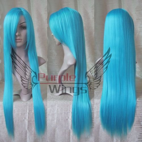 Heat Resistant Anime Fashion New Long Blue Cosplay Party Straight font b Wigs b font 80cm