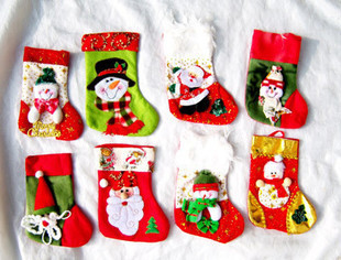 Christmas Decoration Supplies Gift Bag Christmas Stocking Santa Claus Snow Man Socks Tree Hanging Ornaments(China (Mainland))