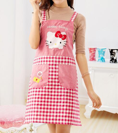 freeshipping5pcsLovely Women Mujer Aprons Kitchen Restaurant Cooking Cartoon Apron Pockets Save-all Gift Aprons wholesale(China (Mainland))