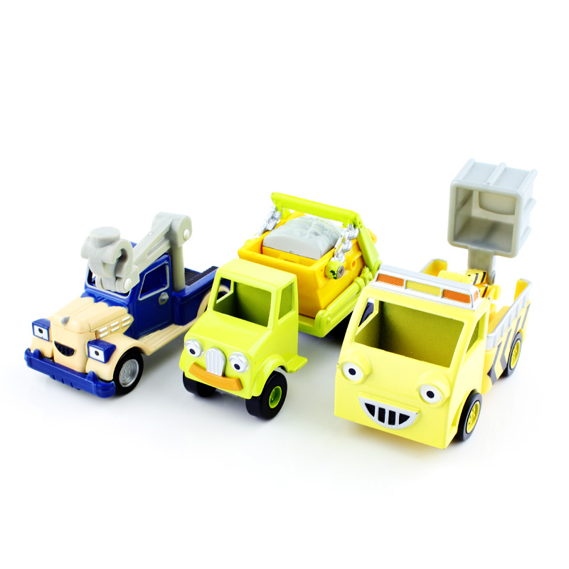 3pcs/set 2016 cartoon truck aerial ladder truck Bob the builder engine metal models Thomas vehicle cars mini baby play crane toy(China (Mainland))