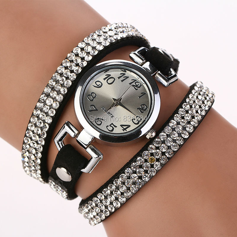 Women Watches Round Head Suede Accents Rivet Leather Colorful Vintage Bracelet Wristwatches Luxury Rhinestone Wrap Quartz XR689(China (Mainland))