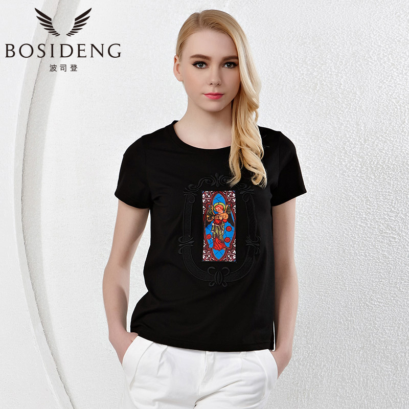 BOSIDENG summer women's clothing women T shirt black white Indian print O-neck short sleeve ethnic top B1502004