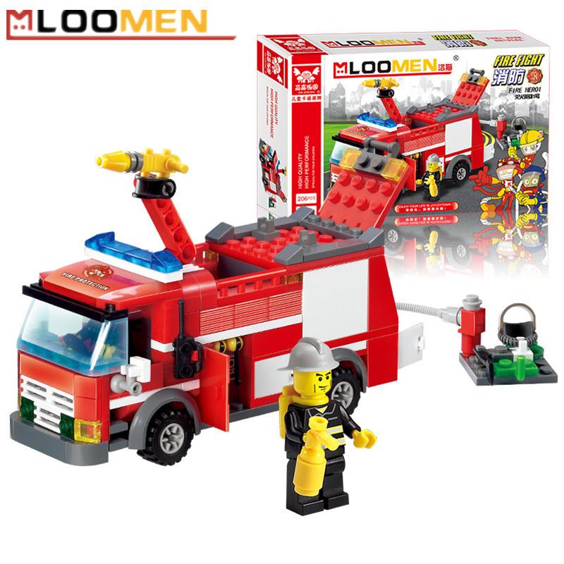 J310 Fire Fight Truck 206pcs/set Building Blocks Kits DIY Enlighten Child Educational Construction Bricks Toys Kids Gift(China (Mainland))