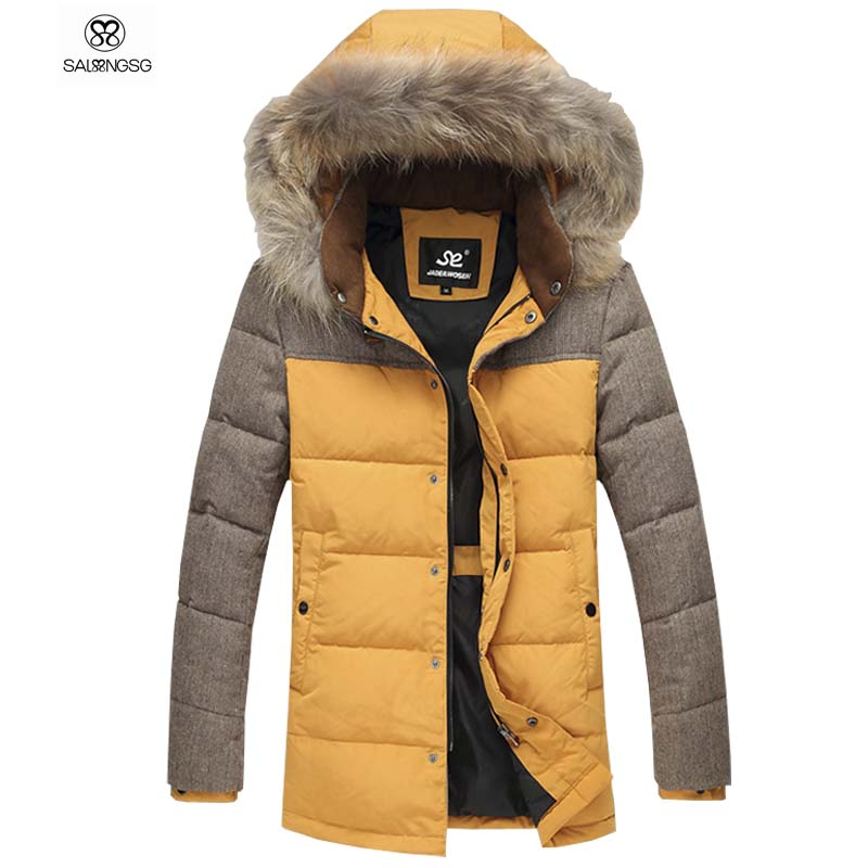 Фотография Luxury Raccoon Fur Collar Winter White Duck Down Jacket With Hat Men Winter Thick Coats Brand Designs Mens Down Jackets Thermal
