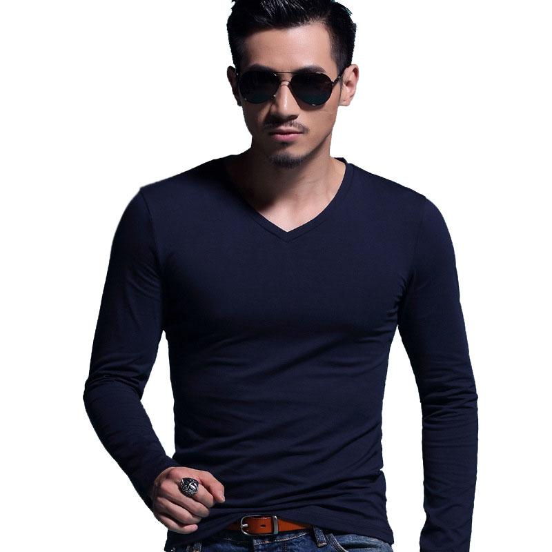 fashion solid t shirt men v neck long sleeve cotton t shirt 12 designs tshirt homme camisetas. Black Bedroom Furniture Sets. Home Design Ideas