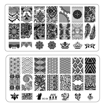 1pcs New Flower Lace Print Stencil Nail Art Image Stamp Stamping Plates Beauty Manicure Template DIY Polish Tools BC01-20