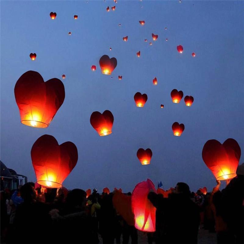 Valentine's Day Wedding Party Decoration Heart Shape 10pcs Chinese Paper Lantern Sky Flying Wishing Lamp Kongming Lanterns Balon(China (Mainland))