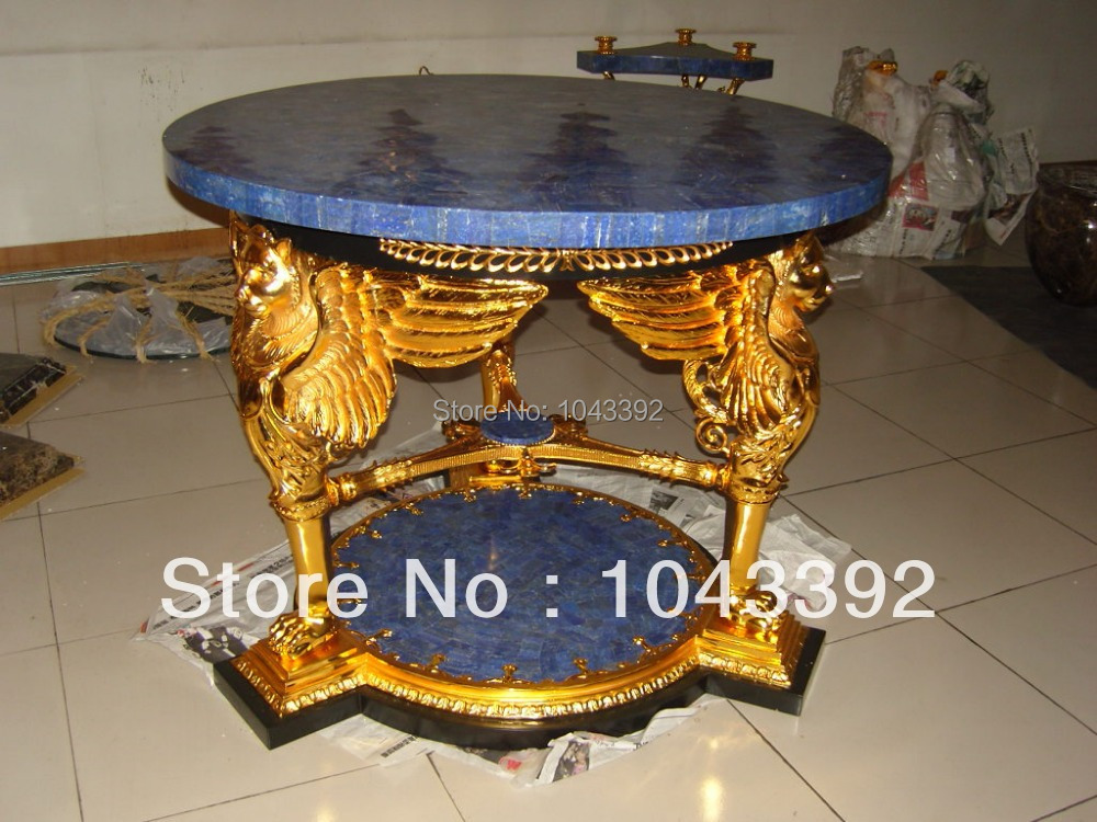 Luxury! Noble! Imperial! Dinning Lapis table brass table home furniture brass with Lapis top and base dinning room table(China (Mainland))