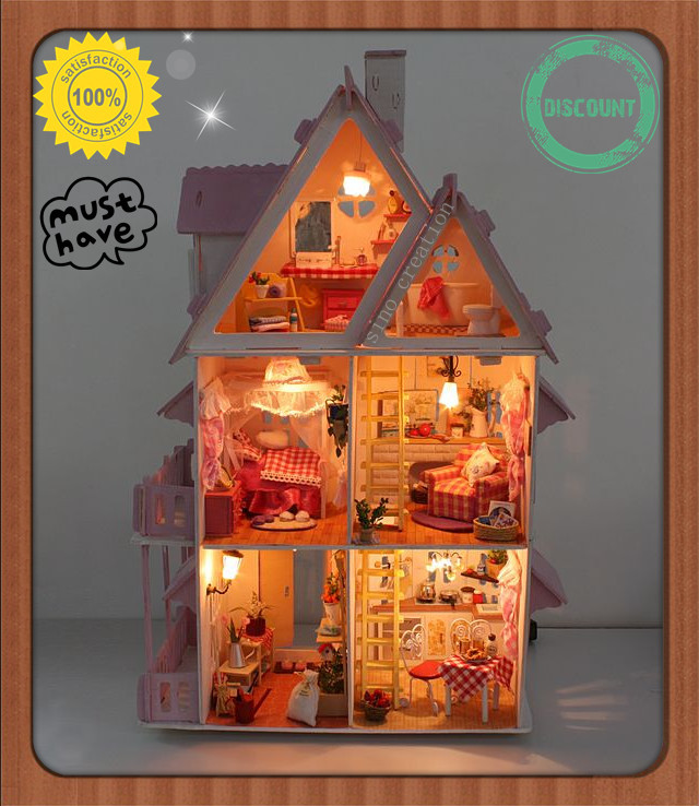 Free Shipping Assembling DIY Miniature Model Kit Wooden Doll House, nique Big Size House Toy With Furnitures,English instrutions(China (Mainland))