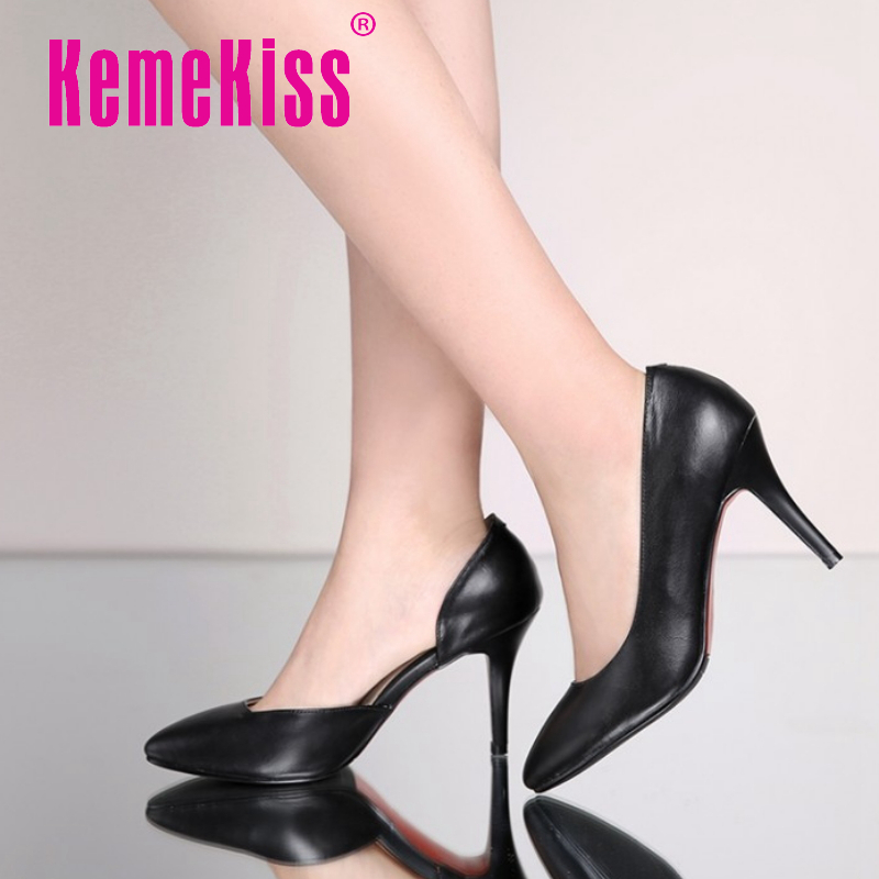 women real genuine leather stiletto pointed toe high heel shoes sexy fashion brand pumps ladies heeled shoes size 33-40 R5567<br><br>Aliexpress