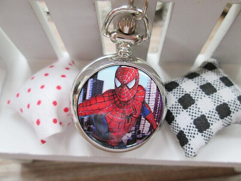 Marvel Super Heros Spiderman Necklace Pocket Watch Child Boy Watch Fashion 1pcs