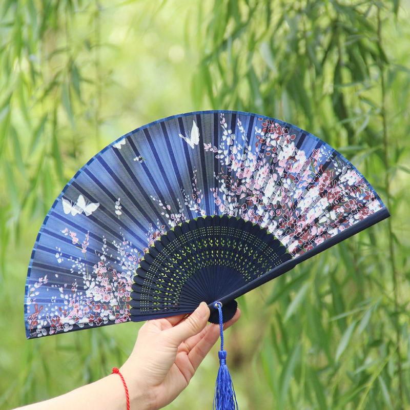 Japan Silk Dance Fan Hand Fan bamboo folding Fan butterfly Flower Asian Pocket Fan(China (Mainland))