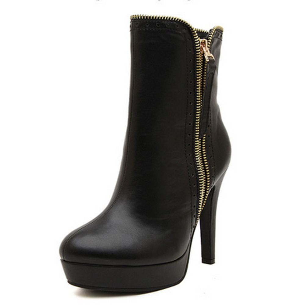 Free Shipping Fashion Dress Womens Thin Heel High Heel Round Toe Leather Ankle Boots<br>