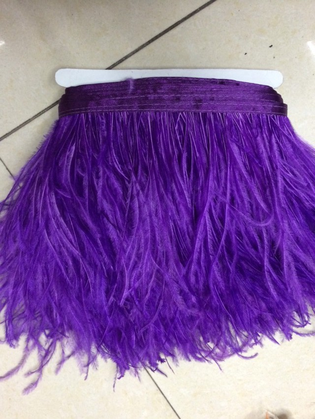 50cm/lot 10-15CM/ 4-6 inch Purple Ostrich Feather Plumes Fringe Trim Feather Boa Stripe for Party Clothing Accessories Craft(China (Mainland))
