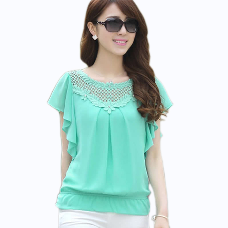 Luxury New Womens Tops Fashion 2016 Women Summer Chiffon Blouse Plus Size Ruffle Batwing Short Sleeve V ...
