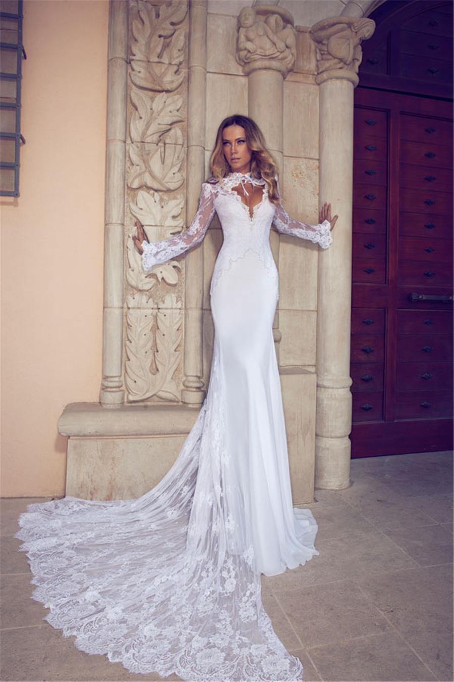 Luxury mermaid long sleeve lace wedding dresses 2015 v for Lace v neck backless wedding dress